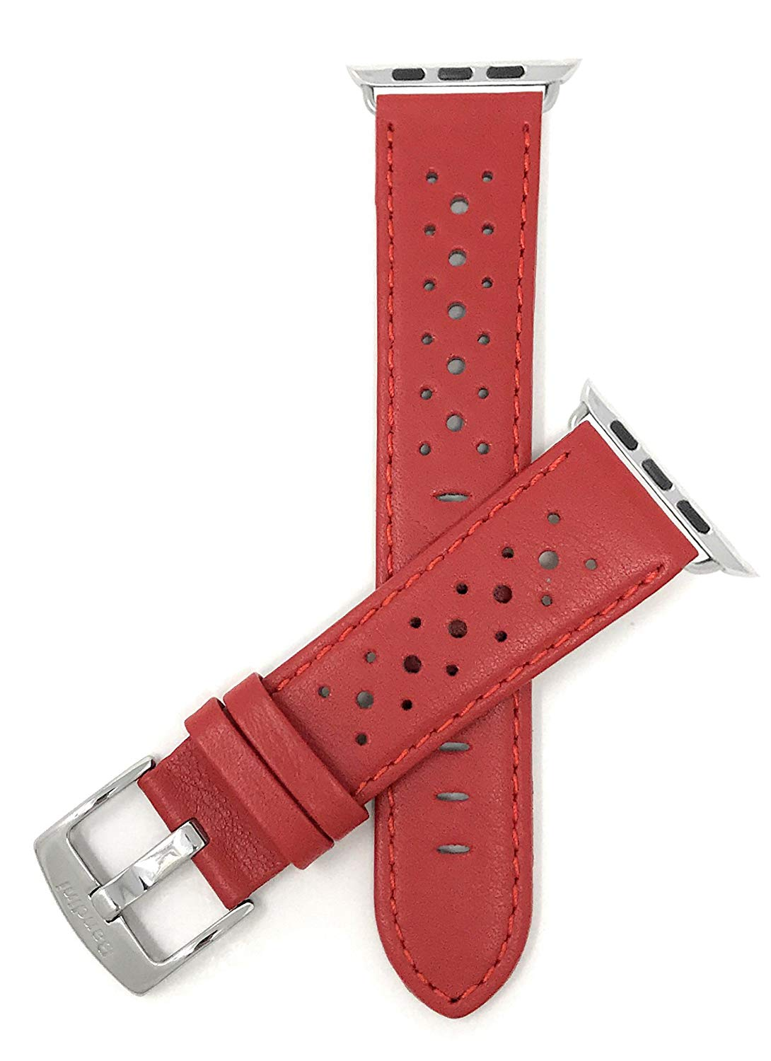 212e1c69a Get Quotations · Bandini Replacement Watch Band for Apple Watch 38mm, GT  Rally Perforrated, Vented Racer Leather
