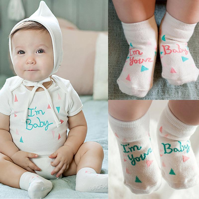 0 4Y Newborn Baby Socks Kids Cute Words Pattern Socks Soft Warm Cotton Socks