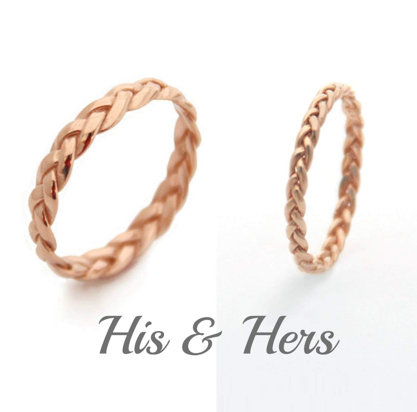 Handmade 14K Matching Rings for him and her Yellow, Rose or White Gold His and Hers Wedding Ring Set