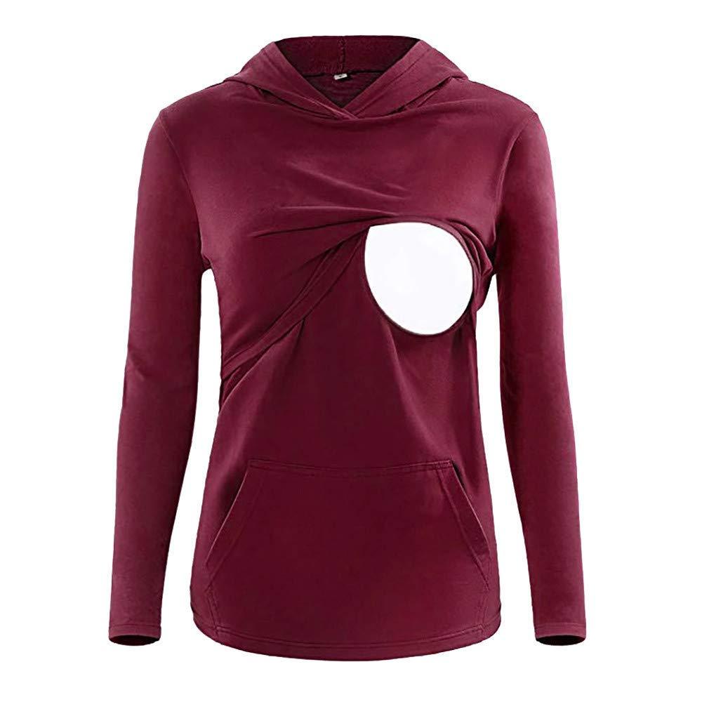 ae40281239613 Get Quotations · Inkach Maternity Hoodie, Women Breastfeeding Nursing Long  Sleeve Sweatshirt Pullover Tops (M, Red