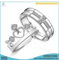 Funny prices king and queen engagement and wedding diamond stretch silver ring