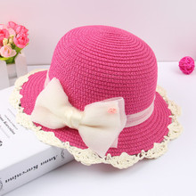 BM034 Cute Children Baby Girls Summer Sun Straw Hat with bowknot