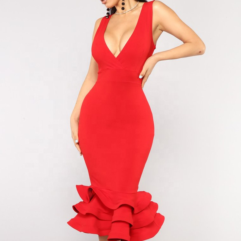 Fashion Red Women Midi Dress V Neck  Spaghetti Strap Ladies Dress Front Wrap Ruffle Sexy Dress for Wholesale