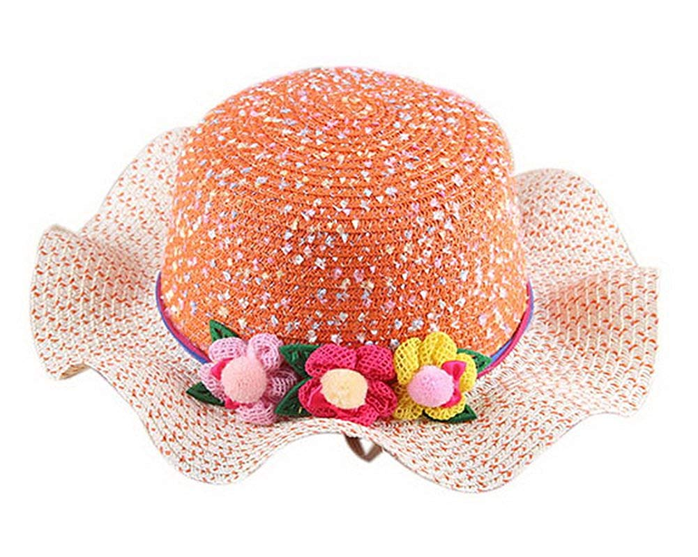Get Quotations · Gentle Meow Straw Hat Sun Hat Children Sunscreen Beach Hat  Girl Hat Wide Brim Sun Hat e2ec1f9127ef