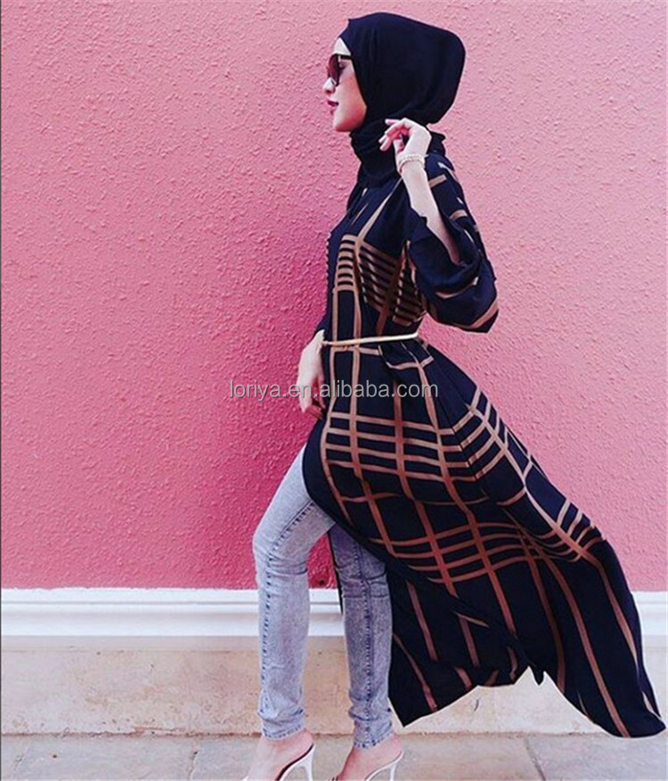 Top Sell Twill Patchwork Front Open Abaya Jubah Jilbab Muslimah Dress Clothing