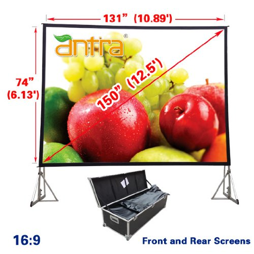 """Antra PSD-150A 16:9 Fast Fold Projector Projection Screen with Front & Rear Projection Material on Heavy Duty Frame with Carry Case (150"""" Diagonal/11.1' x 5.4')"""