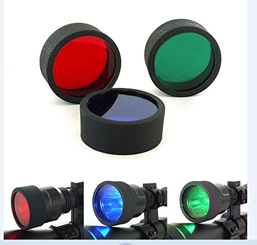 Gazelle Trading 3 Red Blue Green Beam C8 45mm Tactical Flashlight Torch Filter For Rifle Hunting