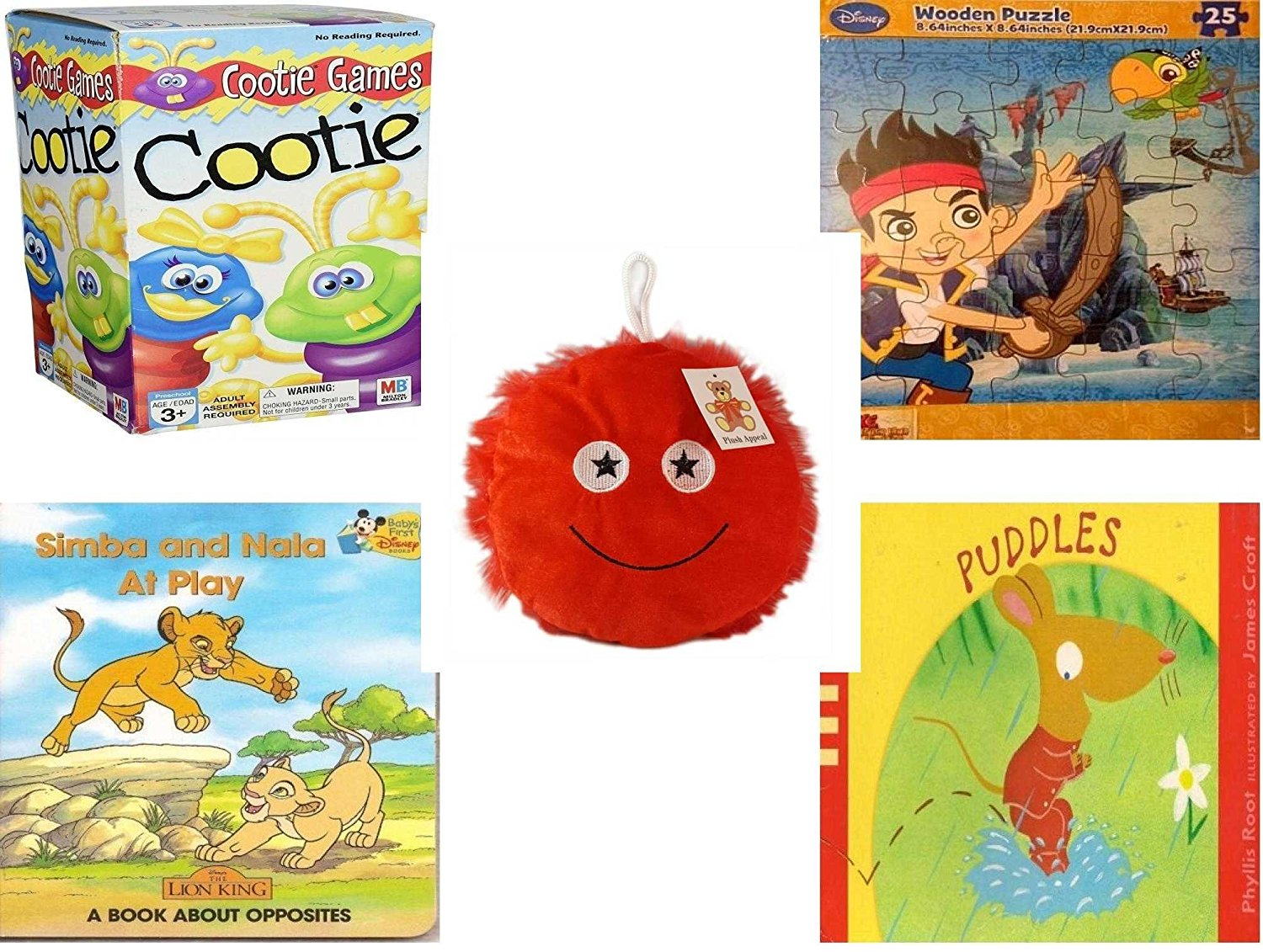 "Children's Gift Bundle - Ages 3-5 [5 Piece] - Cootie Game - Disney Jake and The Never Land Pirates Puzzle Toy - Plush Appeal Red Fuzzy Happy Face Plush 7"" - Simba and Nala At Play: A Book About Oppo"