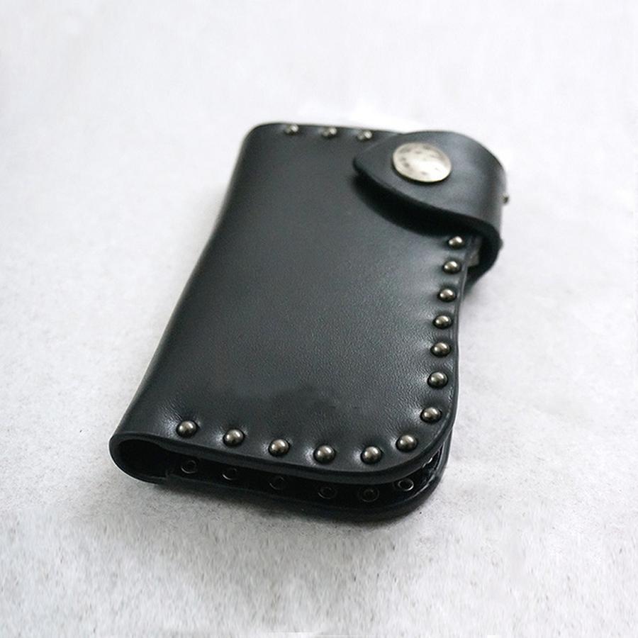 black leather wallet style custom leather key holder