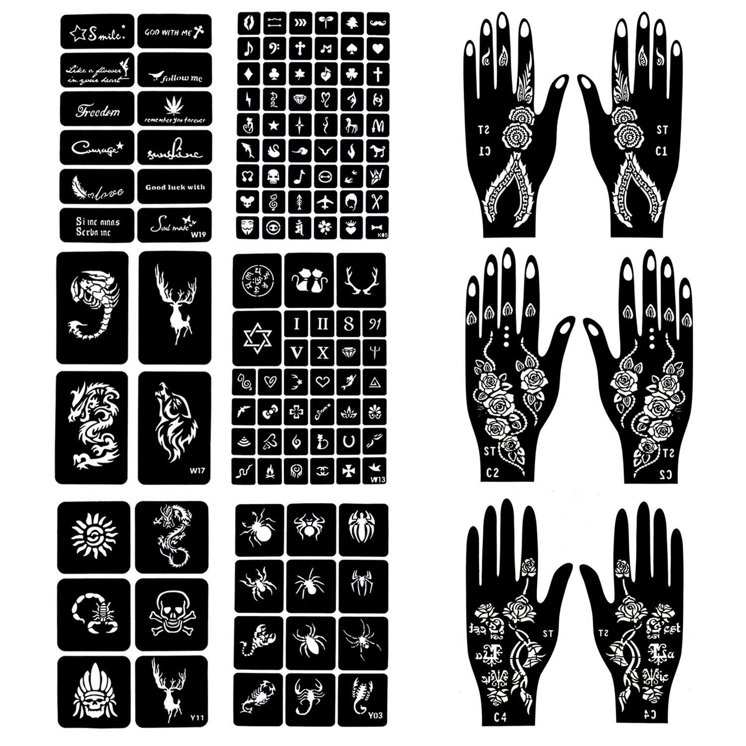 12 Sheets Stencils for Henna Tattoos Self-Adhesive Beautiful Body Art Temporary Tattoo Templates, Henna, Flower, Butterfly Designs, Scorpion, Spider, Dragon