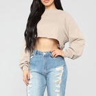 Cheap Polyester Cotton Long Sleeve Clothes Women Ladies Crop Top