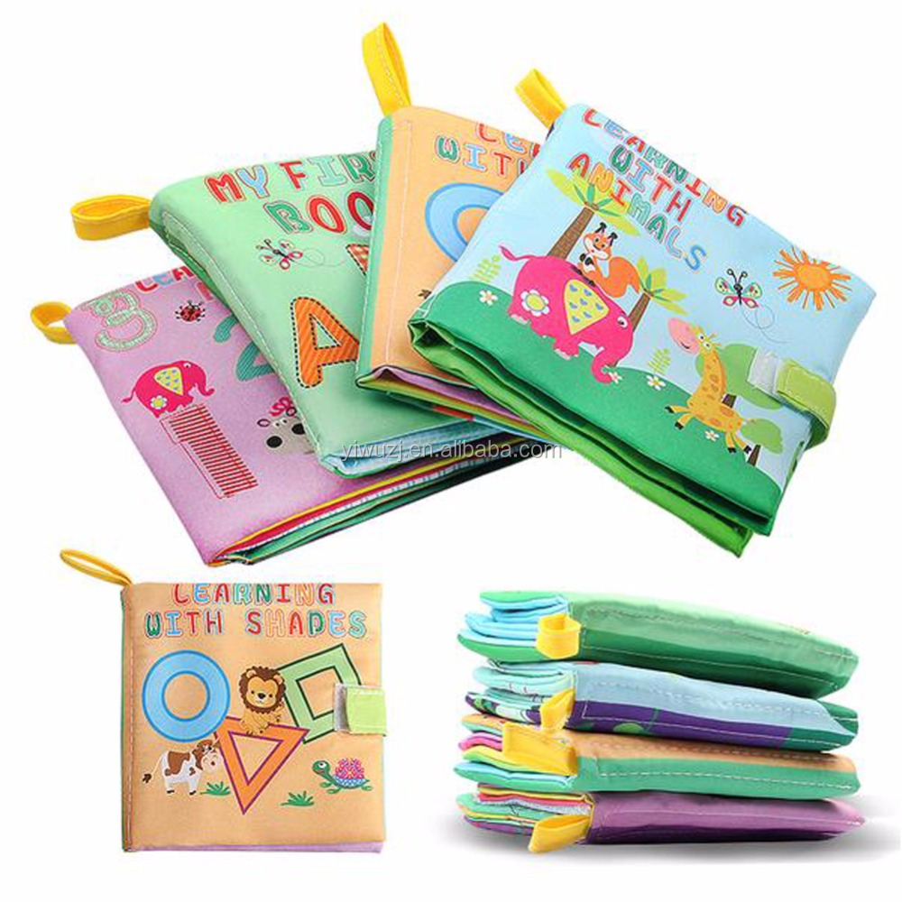 4 Styles Baby Toys Soft baby Cloth Books Rustle Sound Infant Educational Stroller Toy