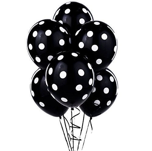 12 Inch Good Quality 3.2g Polk dot Balloon Latex Balloon-Black Dot Latex Balloon for Kids Party