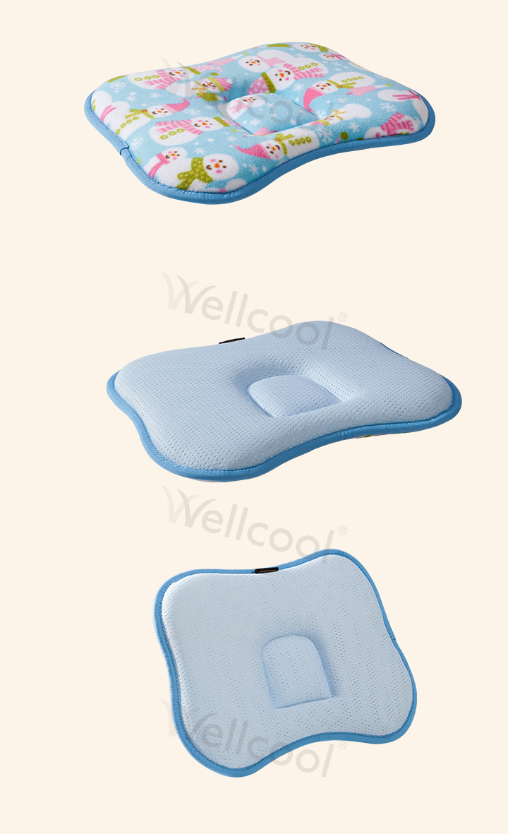 Blue cradle butterfly breathable cooling 3d baby head anti roll pillow in factory price