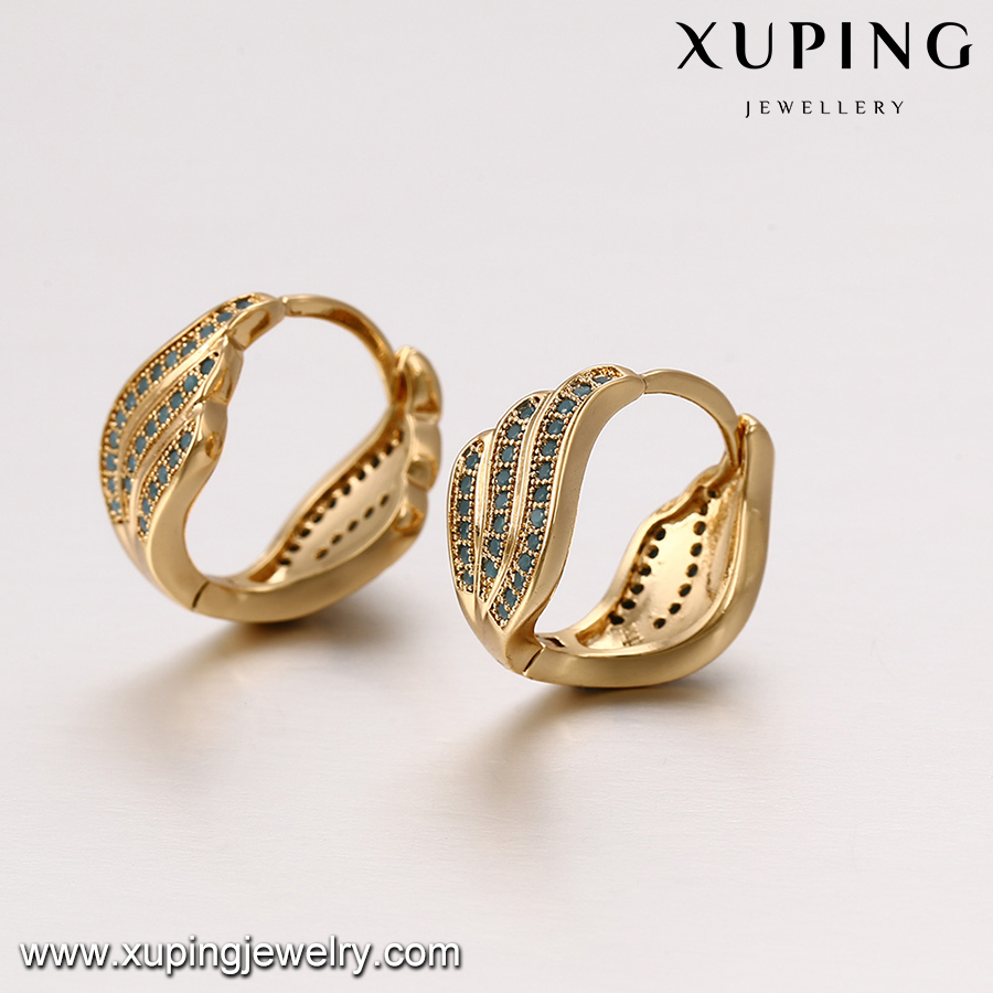 93381 18k gold beautiful woman jewelry dancing girl earrings jewelry