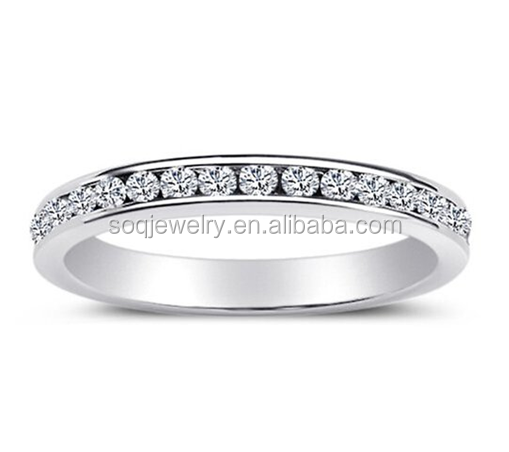 Simple Luxury 316L Stainless Steel Eternity CZ Wedding Band Ring