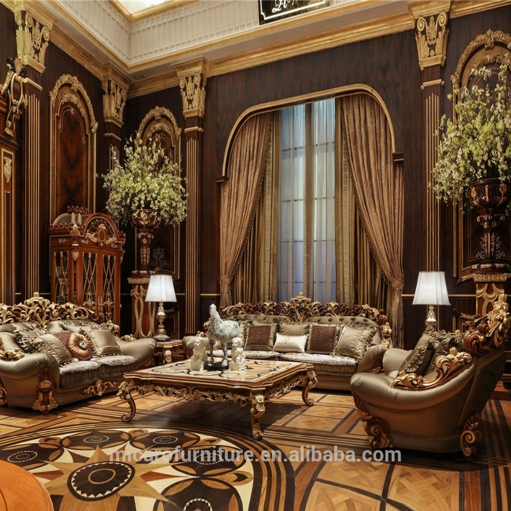 Wooden carved italian classic style luxury living room furniture sofa sets with natural mable top coffee table