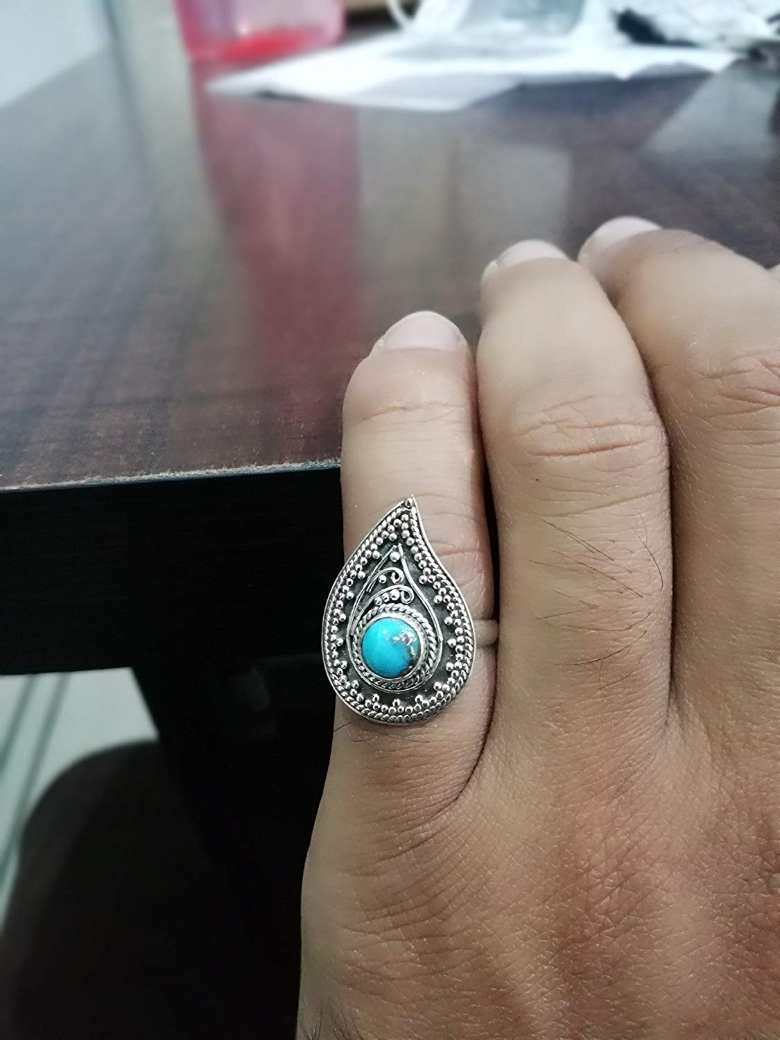 Turquoise Ring, 925 Sterling Silver Ring, December Birthstone, Vintage Ring, Leaf Shape Ring, Minimalist Stone Ring, Boho Ring, Antique Ring, Designer Ring, Good Looking Ring, Gift, US All Size Ring