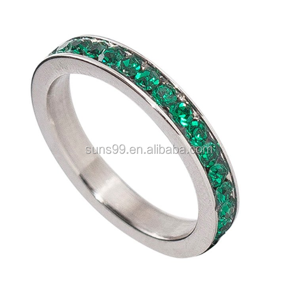 Birthstone Eternity Ring Stainless Steel Cubic Zirconia CZ Band Children's Ring Women's Jewelry