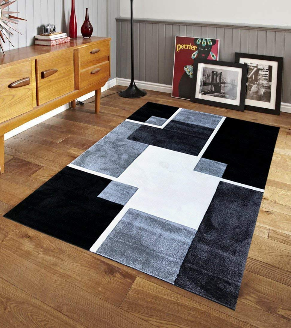 Get Quotations Renzo Collection Easy Clean Stain And Fade Resistant Luxury Black Area Rug For Bedroom Kitchen Dining