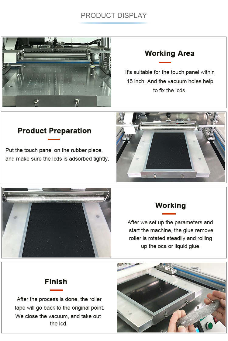 Touch Tablet PC LCD screen 15 inch oca glue adhesive remove machine