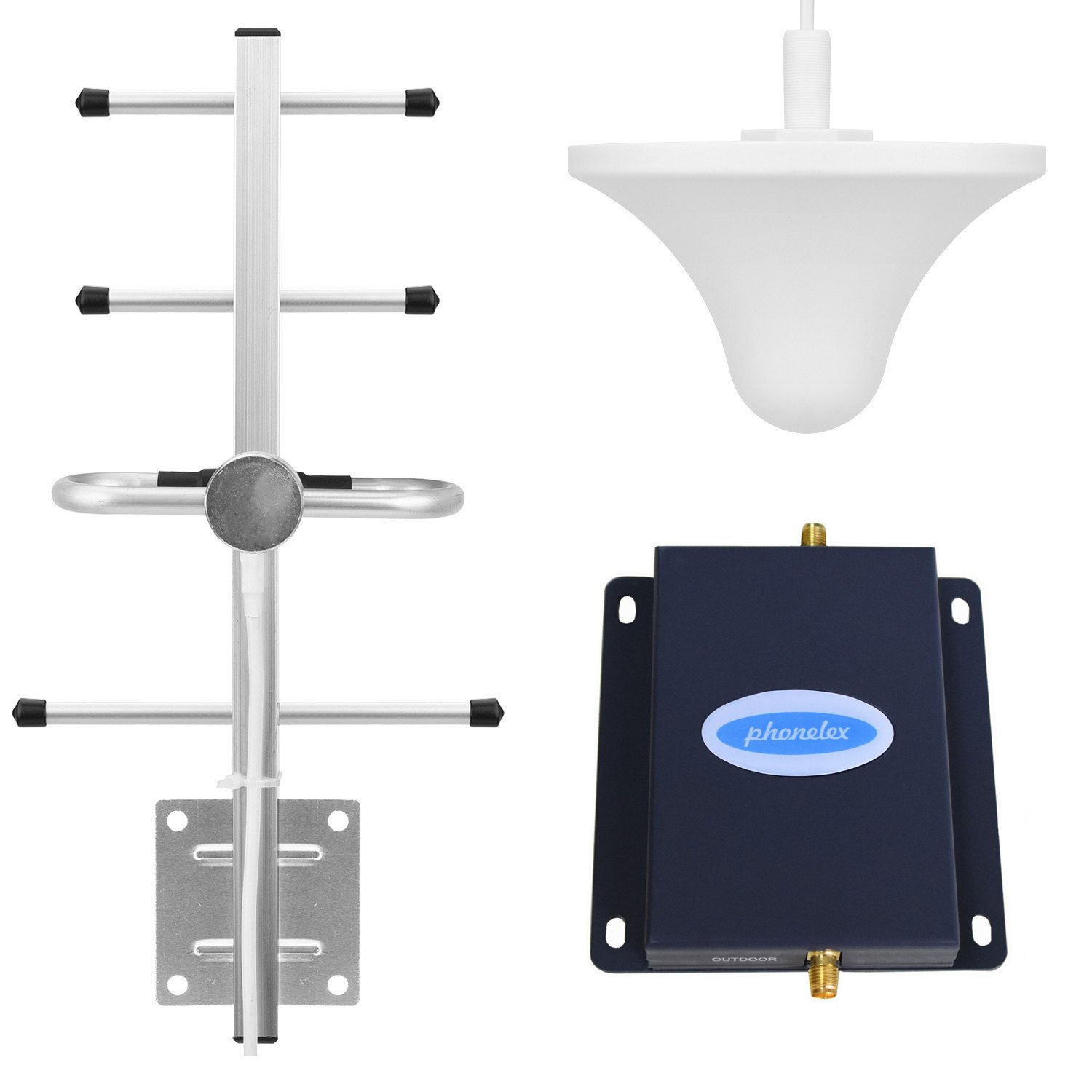 Phonelex Cell Phone Signal Booster AT&T T-Mobile 4G LTE 700MHz FDD Band17/12 Cell Phone Signal Amplifier AT&T Mobile Signal Booster Cell Phone Repeater (Ceiling+Yagi)
