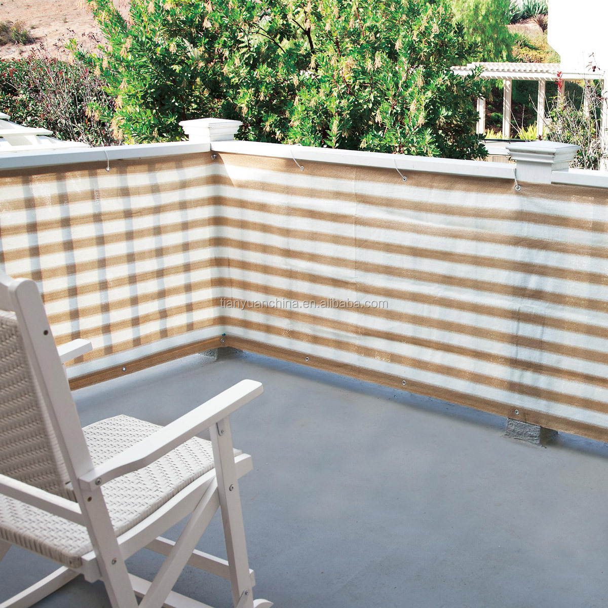 Striped Outdoor Privacy Screen Net Mesh For Deck, Balcony, Fence, Pool or Patio