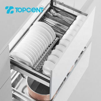 TOPCENT chrome stainless steel metal kitchen cabinet cupboard plating dish wire pull out rack sliding soft close drawer basket