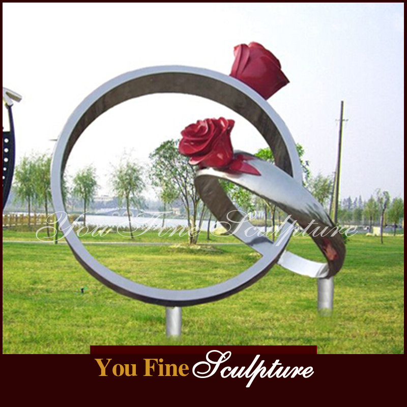 Mirror Polished Stainless Steel Rose Sculpture