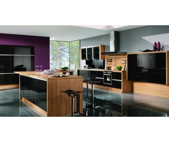 High Gloss Black Lacquer Door And Mfc Laminate Carc Kitchen Cabinets