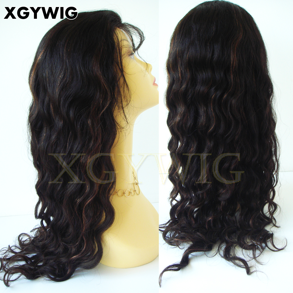 "Stock 8""-24"" Cheap factory price Long Body Wave 1B/30 highlights 100% Indian Remy Hair Wavy human full lace wigs"
