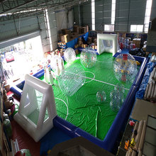 Giant Outdoor Inflatable football filed , Inflatable Team Soccer Games for Playground