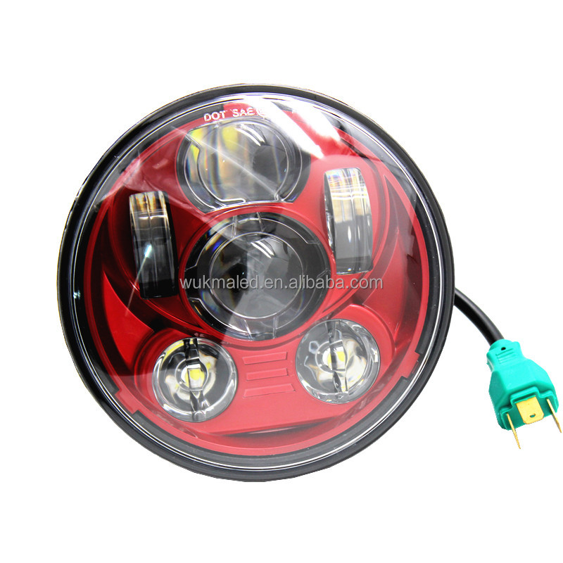 "Red 5.75"" 5-3/4"" LED Motorcycle Headlight Projector DRL Bulb For Harley Davidson H D Sportster Dyna Softail"