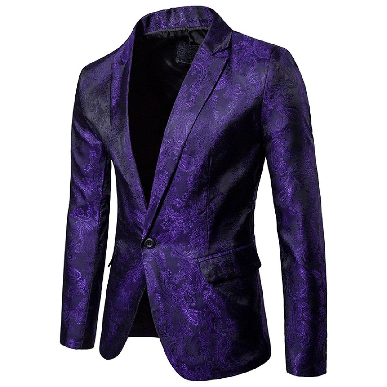 a4d10dfc19a Get Quotations · XTX Mens Dark Floral Court Style 1-Button Outwear Suit Blazers  Tops