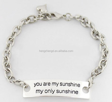 Wholesale DIY inspirational 'you are my sunshine my only sunshine' curved piece silver bracelets for men designs