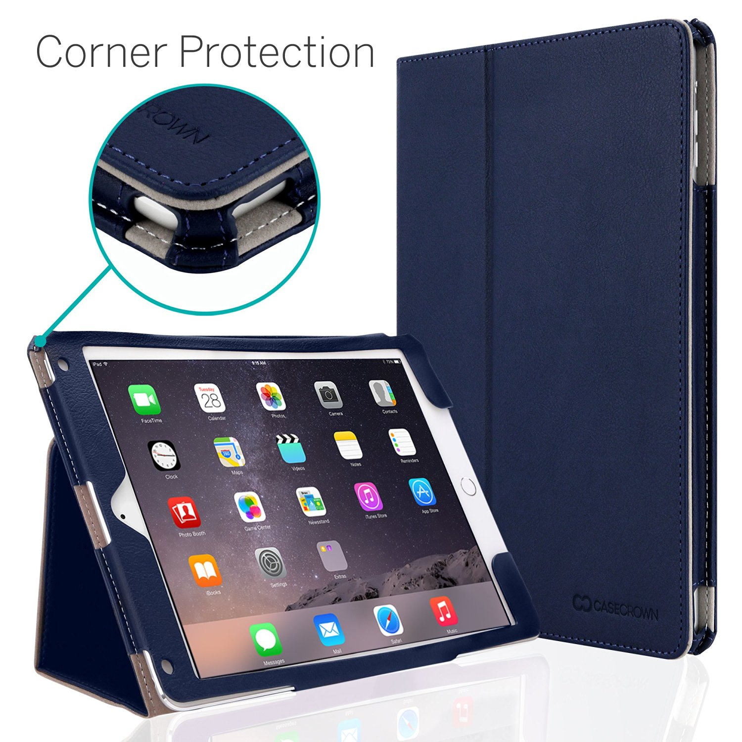 CaseCrown Bold Standby Pro Case (Blue) for Apple iPad Air 2 with Hand Grip, Corner Protection, & Multi-Angle Viewing Stand (Built-in magnetic for sleep / wake feature)