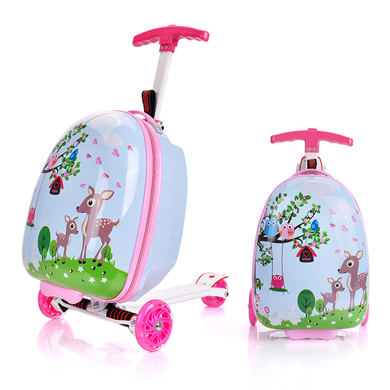 16 Inch Trolley Box Children PC Luggage Kids Suitcase with Scooter