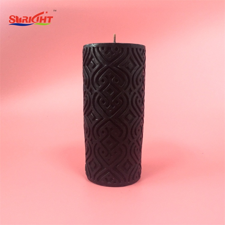 Black Paint Berry Scented Engraved Carved Handmade Pillar Candles 3x5