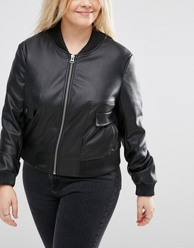 Black Faux Leather Look Fat Women Bomber Jacket Plus Size ...