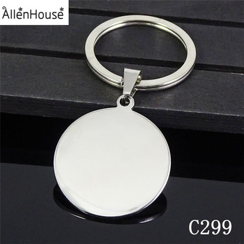 Custom Logo Personalized advertising Round Shape metal key chain ring holder, promotion stainless steel blank keychain keyring