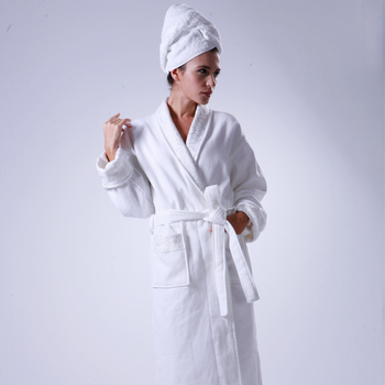 Luxury 5 Star Hotel Terry Towelling Robes Silk Embroidery Satin Bath Towel  Robe e00b63f81