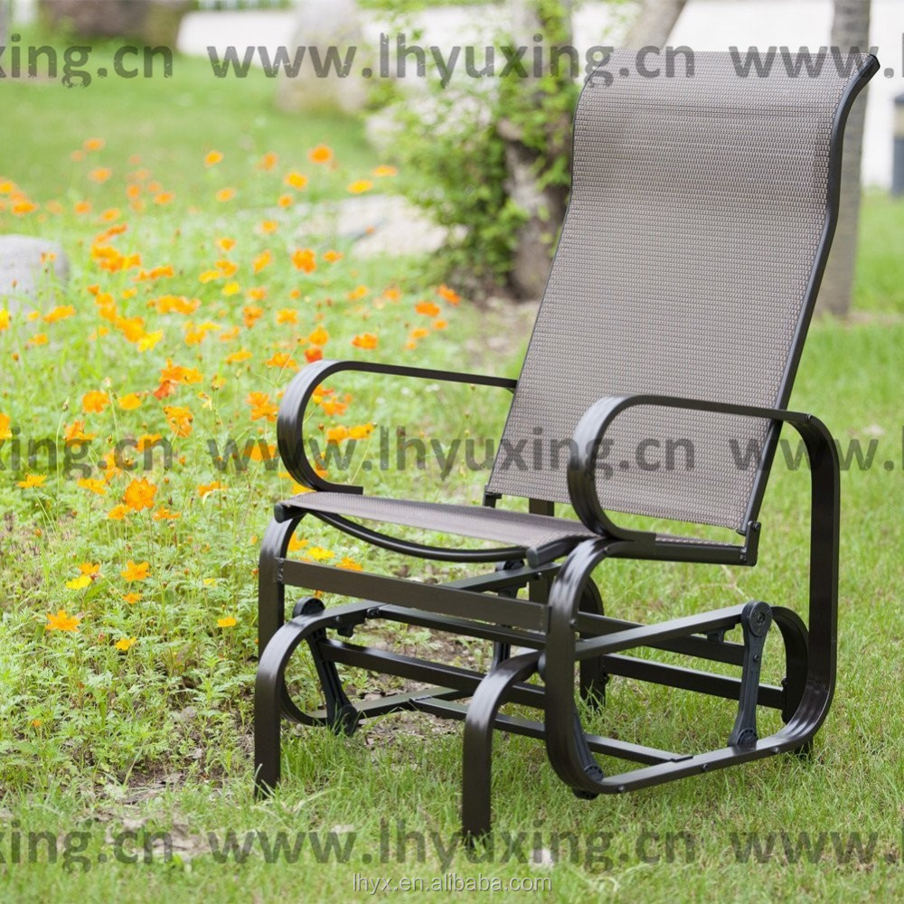 Outdoor single seat rocker sling glider rocking chair teslin mesh fabric with metal frame