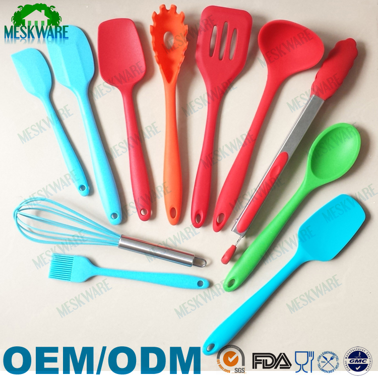 Dishwasher safe heat resistant silicone kitchen cooking utensil set, home cooking tools