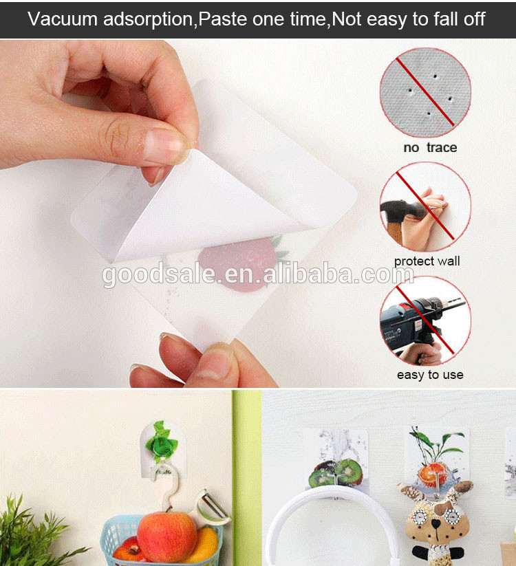6 pcs Transparent Reusable Wall Hanger Plastic Strong Self Adhesive Hooks Waterproof and Oilproof for Kitchen Bathroom Hooks