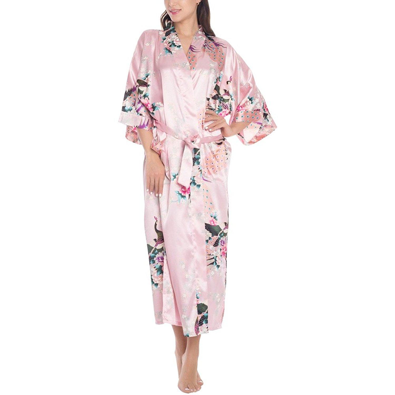 Get Quotations · Cckuu Women s Silk Satin Long Robe Kimono Bridal  Bridesmaid Sleepwear Bathrobe(XXL 3ce456f22
