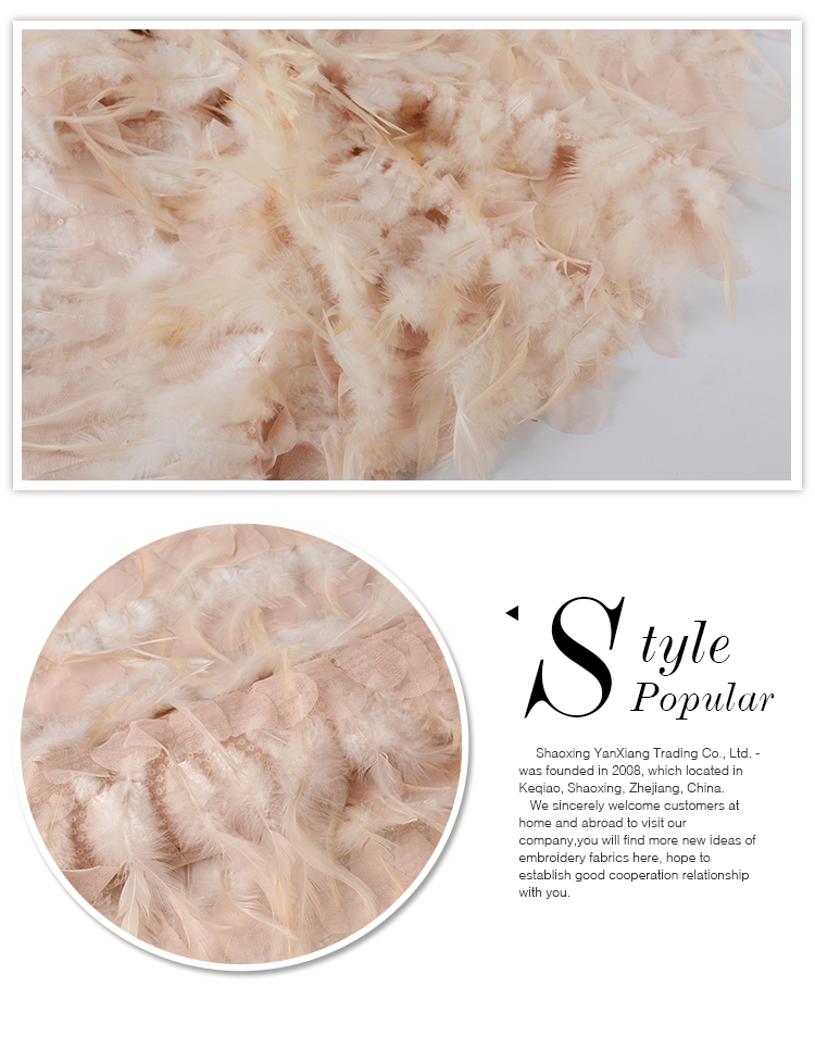 High Quality tulle feather 3d french lace embroidered fabric for garment