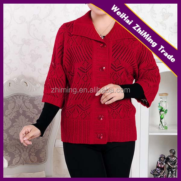 Mummy red mesh 3/4 sleeve grace button cardigan