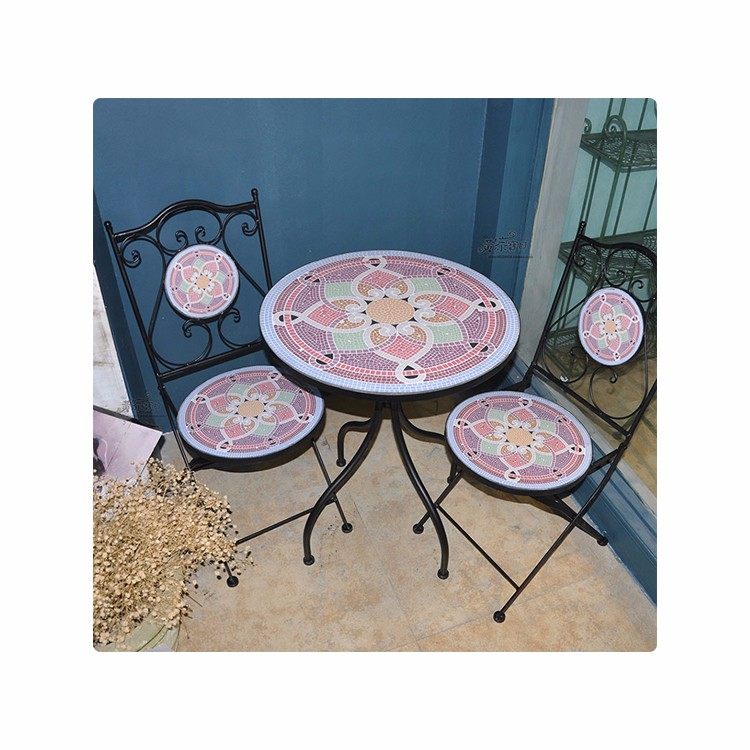 Indoor Round Mosaic Table Set