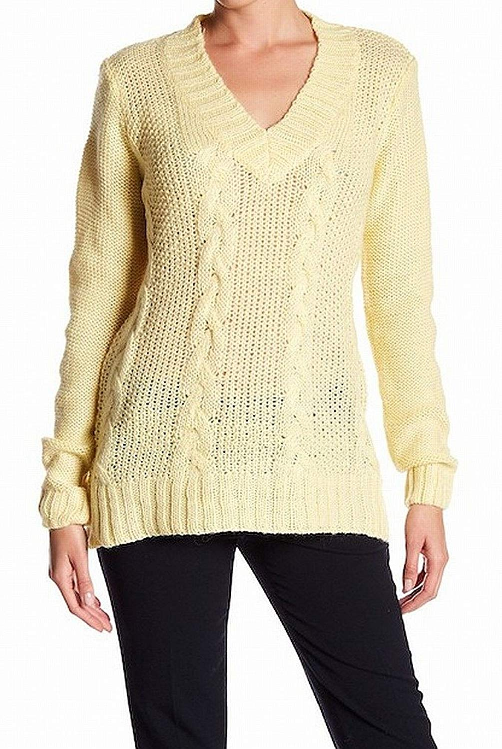 9a42cdce48 Get Quotations · Andrea Jovine Womens Large Cable Knit V-Neck Sweater  Yellow L
