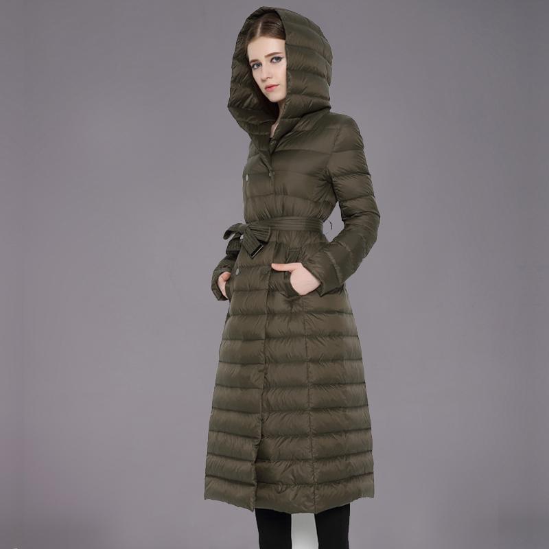 2015 New Winter Ultra Light Down Jacket Women Long Down